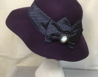 Wide brimmed hat , purple hat , vintage hat,  ladies hat , 70s style hat, retro hat