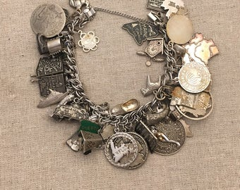 118g Vtg Sterling Silver WORLD TRAVELER / VACATION Charm Bracelet w/48 Charms