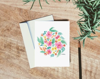 Tropical Watercolor Floral Card - single folded card