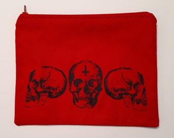 Red Skull Trio Makeup Bag/Cosmetics Bag/Zipper Pouch
