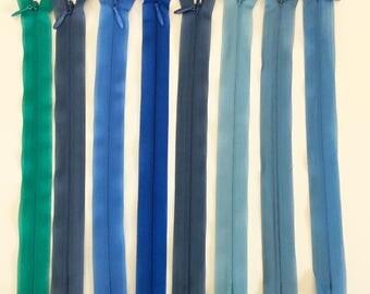 Set of 8 20 assorted colors - set 2 cm invisible zipper closures