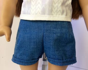 Jean shorts. High waisted doll shorts. 18 inch doll shorts. American girl doll type shorts.