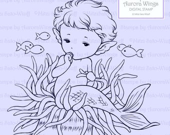 Digital Stamp - Mer-Baby - Baby Mermaid Sitting on an Anemone Sucking Thumb - Fantasy Line Art for Cards & Crafts by Mitzi Sato-Wiuff
