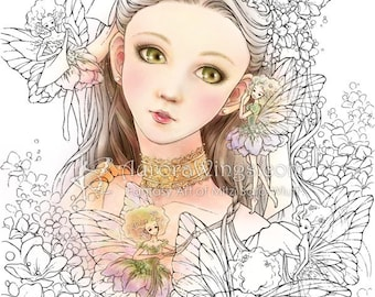 Digital Stamp - Instant Download - Enchanted Visions - Girl w/ Fairies - digistamp - Fantasy Line Art for Cards & Crafts by Mitzi Sato-Wiuff