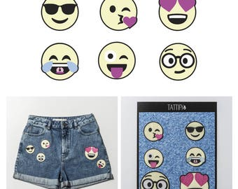WINK Emoji Faces Embroidered Sticker Patch Set Real Talk Collection