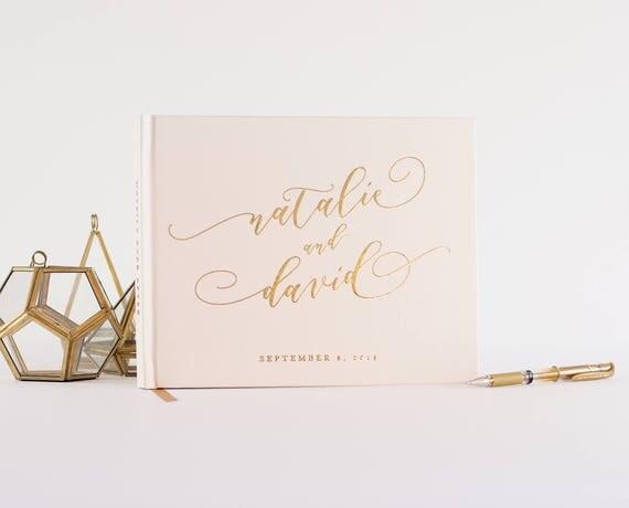 Gold Foil Wedding Guest Book landscape horizontal wedding book wedding guestbook instant photo book personalized names hardcover registry