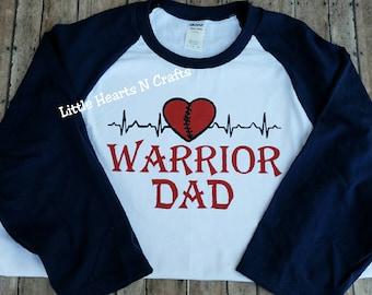 Heart Warrior Dad shirt, heart dad CHD shirt, EKG, congenital heart disease awareness, heart defect awareness