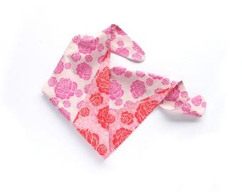 Rose cotton bandana scarf, bright pink and red print mix, floral neckerchief, summer outdoors accessory, resort travel statement