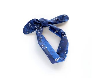Blue cotton bandana scarf, navy and bright blue letter play print mix, neckerchief, summer outdoors accessory, resort travel statement