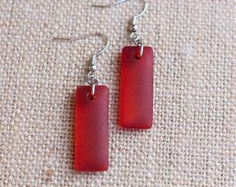 Sea Glass Dangle Earrings, Red Sea Glass Earrings, Red Sea Glass, Sea Glass Earrings, Handmade Earrings, Red Sea Glass, Red Sea Glass