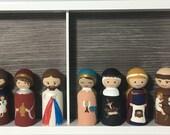 CUSTOM (you pick) hand painted Saint peg doll