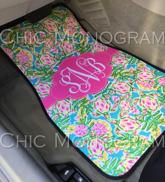 Sweet 16 Gifts for Her Monogram Car Floor Mats Lilly Inspired Personalized Car Mats Custom Cute Car Accessories Swimming Sea Turtles