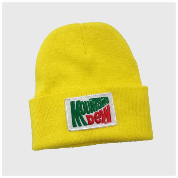 Mountain Dew Vintage Patch Hat - Neon Yellow Soda Logo Toboggan Hat Unisex Upcycled Grunge Accessory - Mt. Dew Patched Winter Accessory Hat