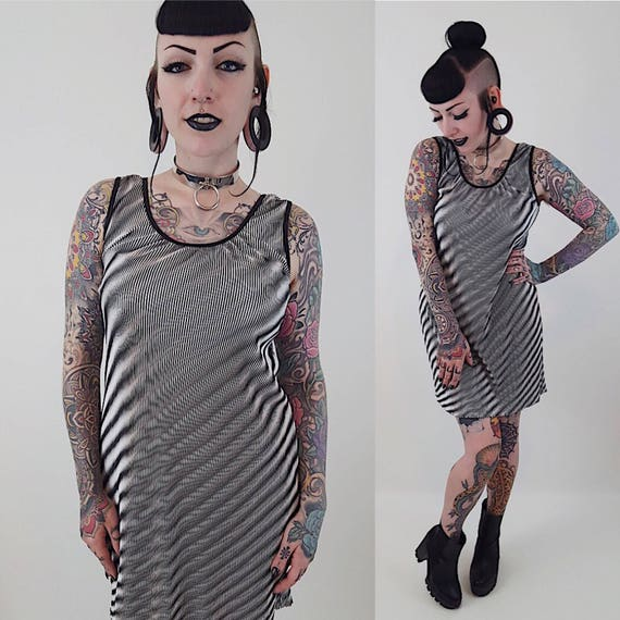 90s Womens Vintage Trippy Psychedelic Tank Dress - Size Medium Large Silver Black Mini Sleeveless Dress-1990s Vintage Summer Party Dress