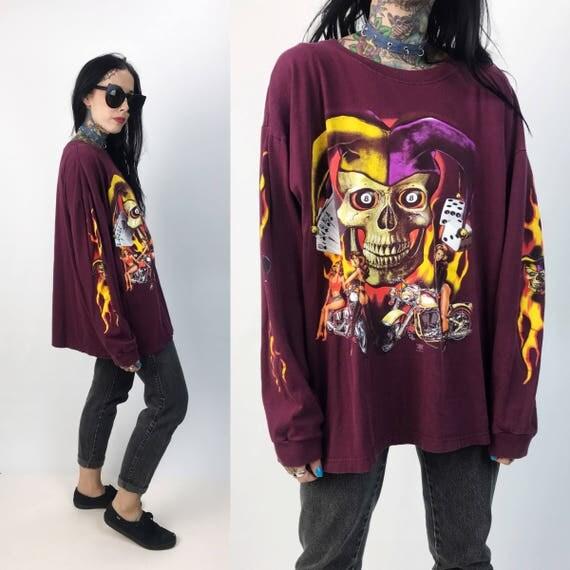 Flaming Joker Biker Babe Long Sleeve Skull Tee Shirt XL Unisex Plus - Crew Neck Long Sleeve Shirt Babes/Flames/Dice/Cards/Motorcycles/8 Ball
