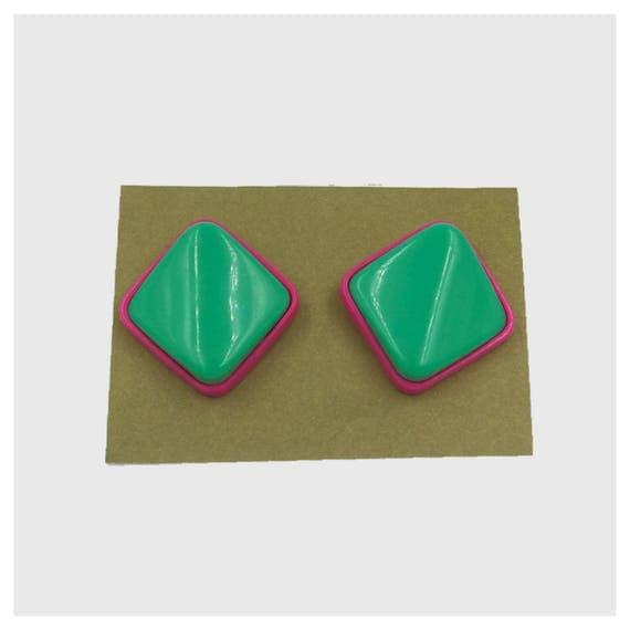 80's Plastic Statement Earrings - Large Hot Pink & Mint Green Earrings Costume Jewelry Plastic - Girly Vtg Funky Geometric Wild Earrings