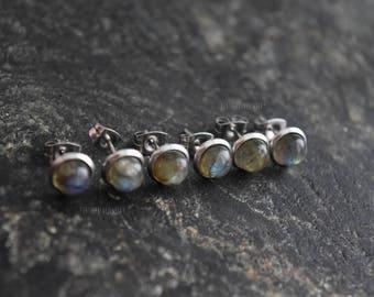 Labradorite (1 Pair) Real Stone Bezel Set Stud 316L Surgical Steel Post Piercings Cartilage Lobe Jewelry Earrings