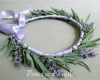 """Lavender Flower Crown, Light Puple and Green Silk Flower Head Wreath, Floral Halo, Spring Wedding, """"Provence"""""""