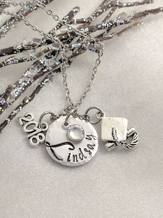 Class of 2018-Handmade Graduation Gift-Graduate Gift-Grad Gift-Graduate Gift-Personalized Graduation Necklace-Hand Stamped Jewelry-Name Disc