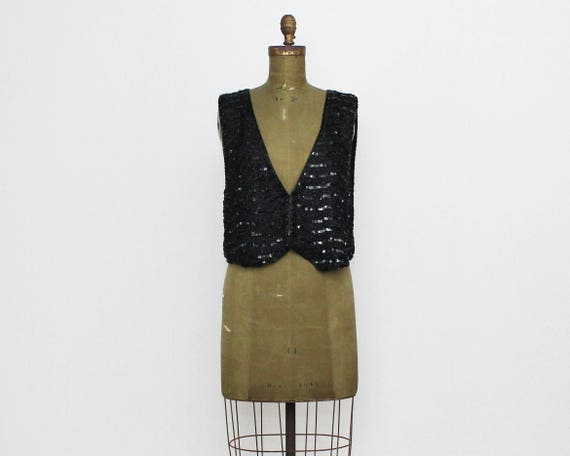 Vintage 1980s Black Sequin Vest - Size Medium