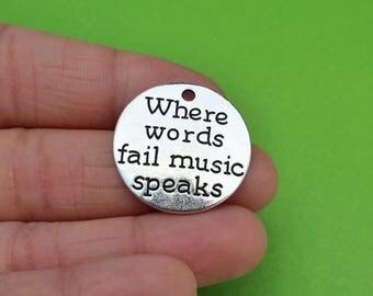 """4 """"Where Words Fail Music Speaks"""" Charms (CH258)"""