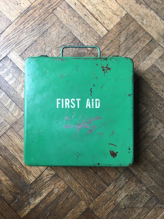 Vintage First Aid Kit, Wall Mounted Green First Aid Kit, Industrial Medical Decor