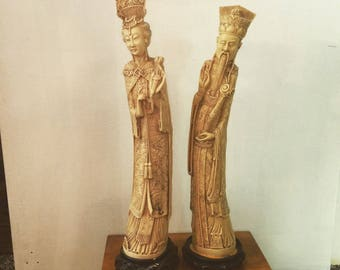 Pair Beautiful Antique Chinese Statues, Vintage Figural Man & Women, Composite Statue, Alabaster Dust, Vintage Composite made in Italy