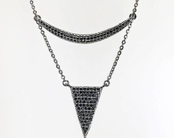 Black Rhodium Cz Curve and Triangle Lariat