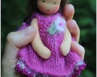 Woodland girl.  Waldorf doll 6inch. Pocket doll. Organic.