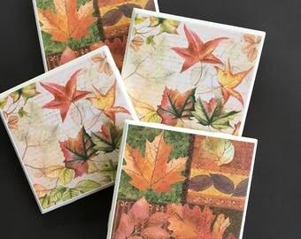 Fall Coasters ~ Autumn Coasters ~ Autumn Decor ~ Fall Decor ~ Decorative Tiles ~ Ceramic Tile Coasters ~ Coaster Set ~ Home Decor
