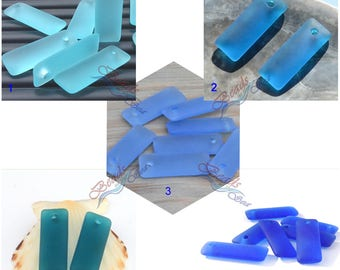 2pcs (32x12mm) Cobalt Blue Rectangle Puffed Recycled Sea Glass Pendant - 2 Pieces