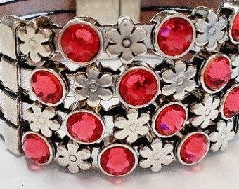 2 5mm flat silver sliders, Light Siam Red Genuine Swarovski Crystal Sliders for 5mm flat Leather, 6mm flat leather