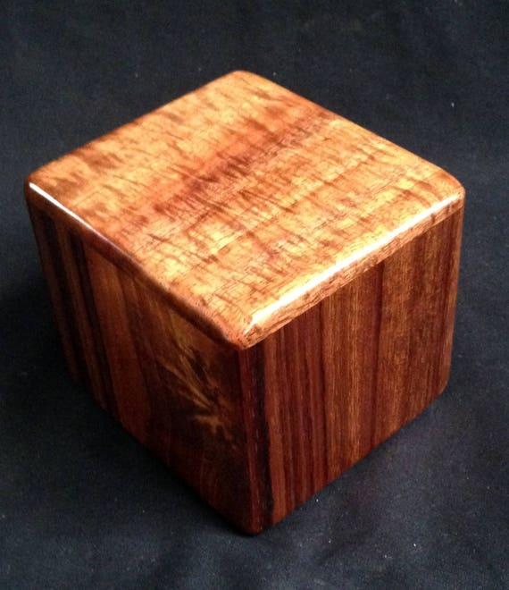 "Curly Hawaiian Koa  Pet or Infant Small Cremation Urn  4 3/4"" x 4 1/4"" x 4""  Custom Handmade Urns Ashes Memorial Keepsake Urn SM091917-C"