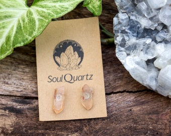 Tangerine Quartz natural crystal earring studs / gift for her / bridesmaid gifts / unique earrings