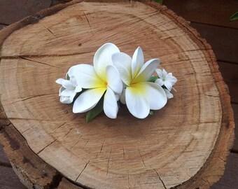 Plumeria Frangipani Wedding Hair Comb Real Touch Flower