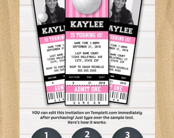 Volleyball Party Invitations - Volleyball Ticket Invitation - Volleyball Birthday Invitation - Volleyball Party Supplies - INSTANT ACCESS
