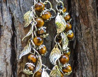 FREE SHIPPING WORLDWIDE-Tiger Eye Bracelet-Leaf Charm Bracelet-Tiger Eye Jewelry-Adjustable Bracelet-Gemini Jewelry-Reiki Jewelry