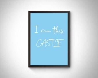 Boy nursery digital print, nursery art, nursery wall art, boy nursery decor, nursery decor, baby boy, baby shower gift, I run this castle