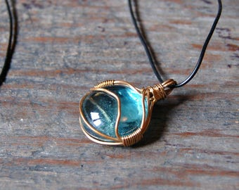 Wire Wrapped Jewelry, Wire Wrapped Pendant, Wire Wrapped Necklace, Glass Gem Pendant, Blue Gem Necklace, Aqua Necklace, Magnetic Necklace