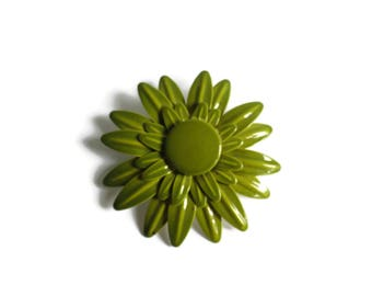 Large Daisy Pin Enamel Flower Brooch Olive Green Oversized 60s 1960s Mod Flower Power Hippie Costume Jewelry Daisies 70s 1970s