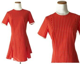 Scooter Dress 60s Mod Mini Dress 1960s Red Polka Dot Size Medium M Polyester Pleated Twiggy Go Go 1970s 70s