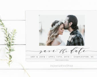 Photo Save the Date Cards, Printable Wedding, Simple Save the Date, Custom Save the Date Announcement, Modern Wedding Invitation, sd005