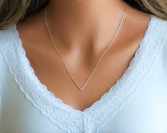 100% Sterling Silver V Necklace, V Shaped Necklace, Chevron Necklace, Triangle Necklace, V Pendant Necklace, Dainty Necklace