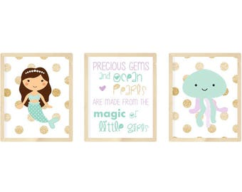 Mermaid nursery prints, mermaid nursery decor, mermaid nursery art, purple and sea foam green nursery