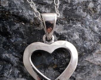 Sterling silver hollow heart charm necklace handmade 925