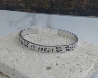 Vegan bracelet bangle - adjustable - handstamped - animals