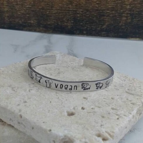 Vegan bracelet bangle - adjustable - handstamped - animals