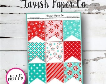 Christmas Teal and Red Full Box Flag Planner Stickers by Lavish Paper Co. | for Erin Condren, Happy Planner, inkWell Press, SewMuchCrafting