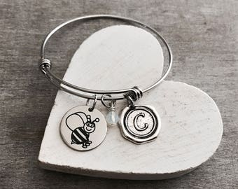 Banjo the bee, Honey Bee, bumble bee, Insect, Bee Bracelet, Bee Jewelry, Teenager, Silver Bracelet, Charm Bracelet, Silver Jewelry, Gift for