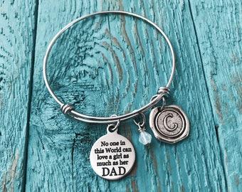 Gift for daughter, daddy daughter gift,gift for step daughter, father daughter gift, Daddys Girl, Silver Bracelet, Charm Bracelet, Keepsake